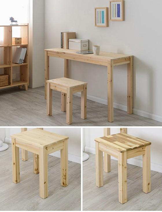 원목 1인벤치 스툴 체어 의자 1인용의자(삼나무/아카시아)