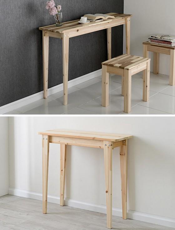 콘솔화장대 1000×300  원목 다용도 테이블(삼나무/아카시아)