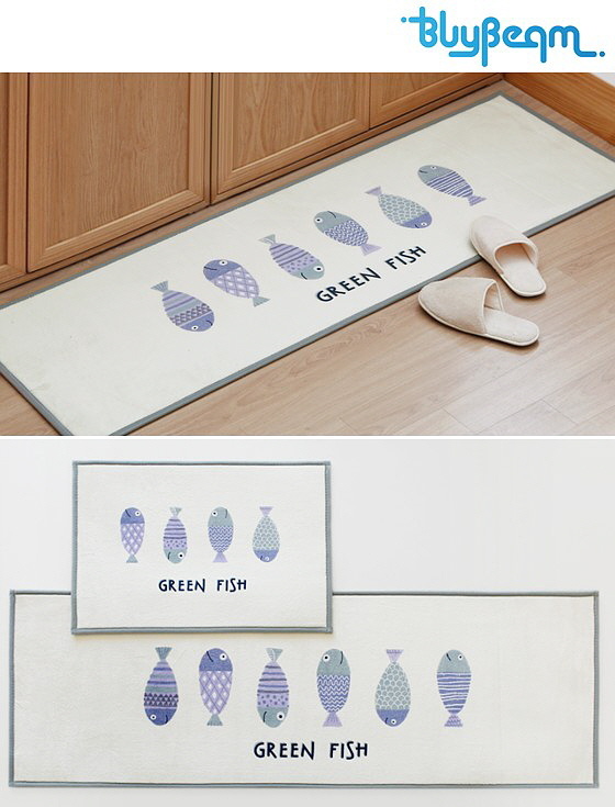 [바이빔] 그린피쉬 롱 주방매트[50x150]