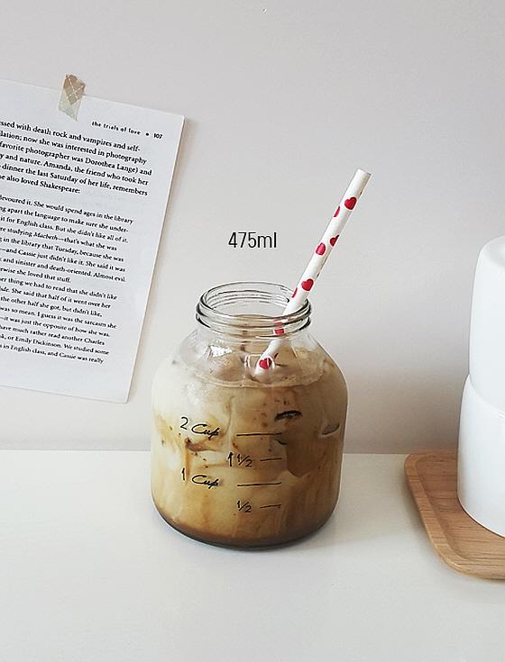 눈금 밀폐유리병 카페유리컵 우유병