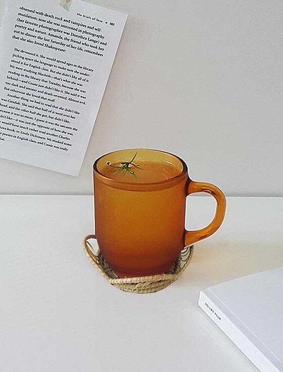 레트로 엠버 머그컵,카페유리컵,커피잔